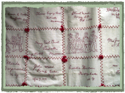 American Red Work Quilt
