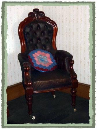 Vintage chair with hexagon cushion