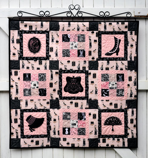 Pink and Black Vintage Quilt
